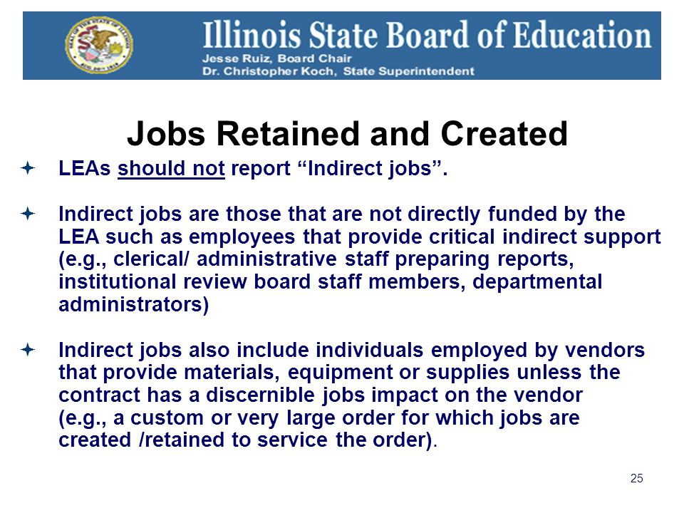 25 Jobs Retained and Created LEAs should not report Indirect jobs.