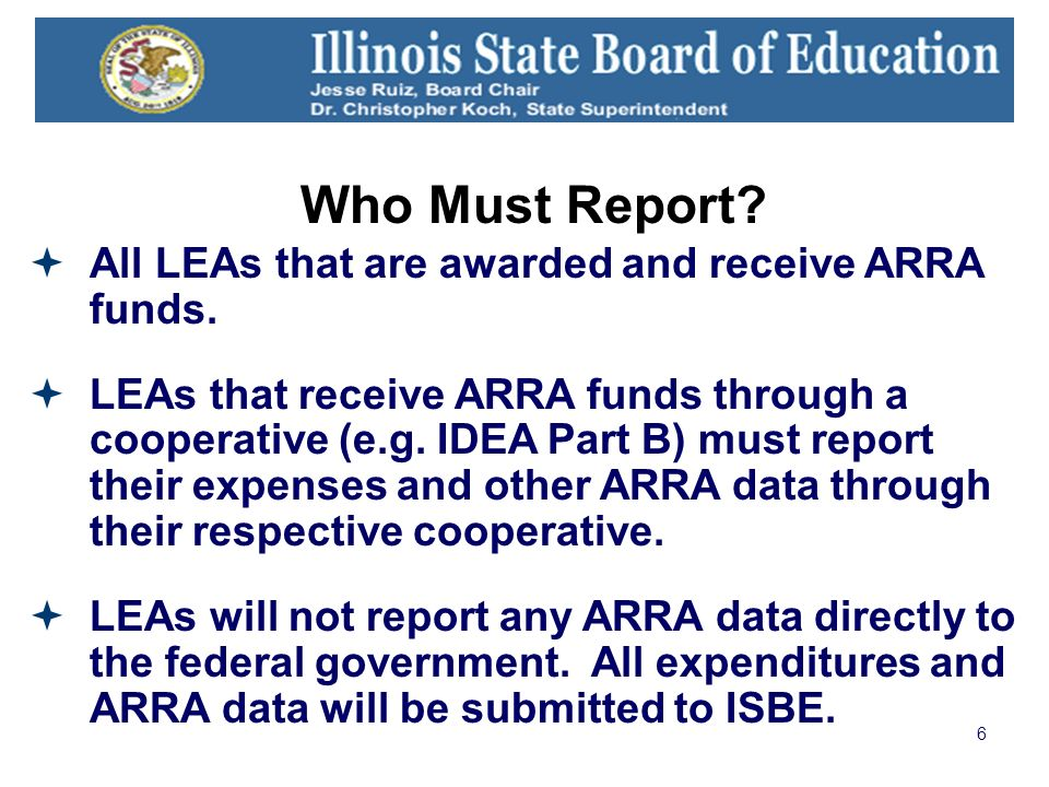 6 Who Must Report. All LEAs that are awarded and receive ARRA funds.
