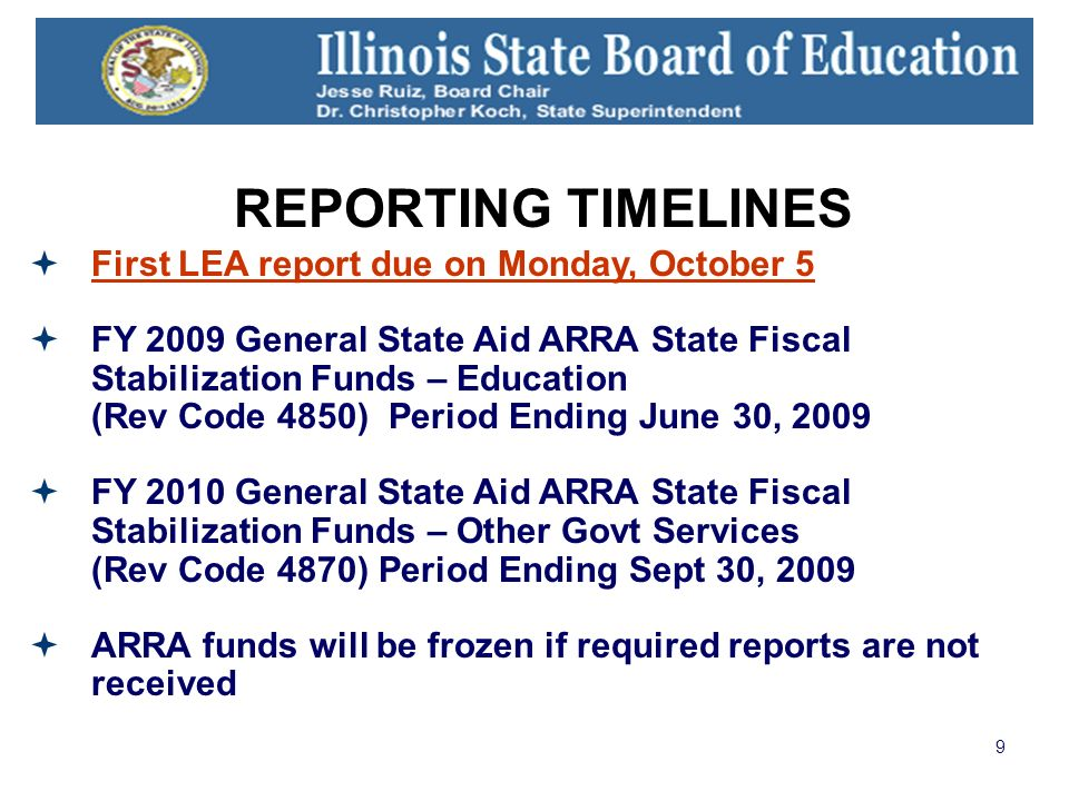 9 REPORTING TIMELINES First LEA report due on Monday, October 5 FY 2009 General State Aid ARRA State Fiscal Stabilization Funds – Education (Rev Code 4850) Period Ending June 30, 2009 FY 2010 General State Aid ARRA State Fiscal Stabilization Funds – Other Govt Services (Rev Code 4870) Period Ending Sept 30, 2009 ARRA funds will be frozen if required reports are not received