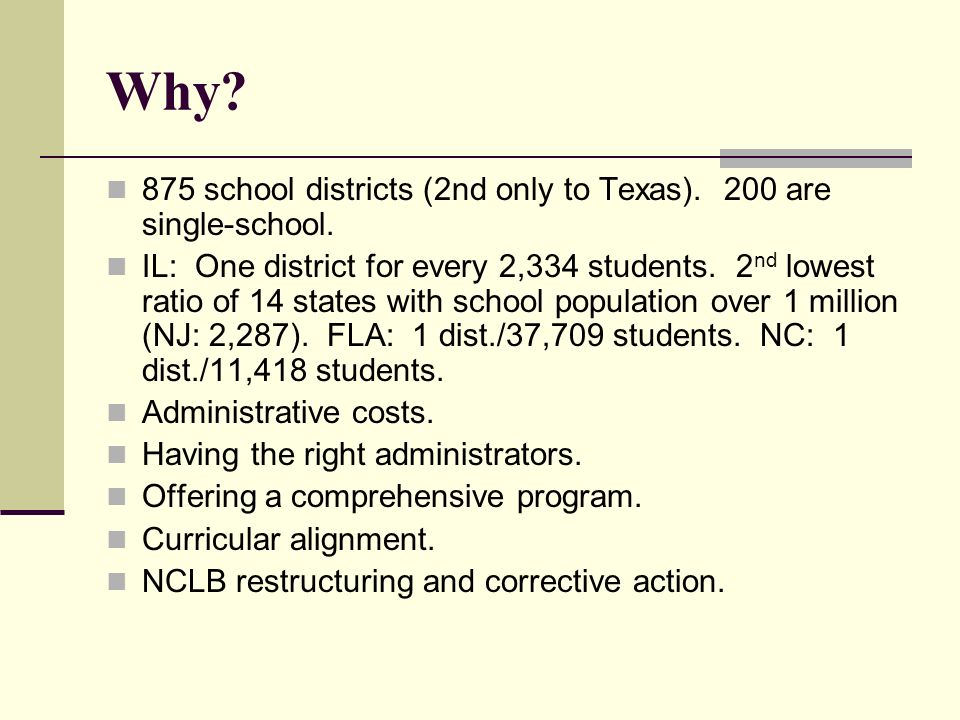 Why. 875 school districts (2nd only to Texas). 200 are single-school.
