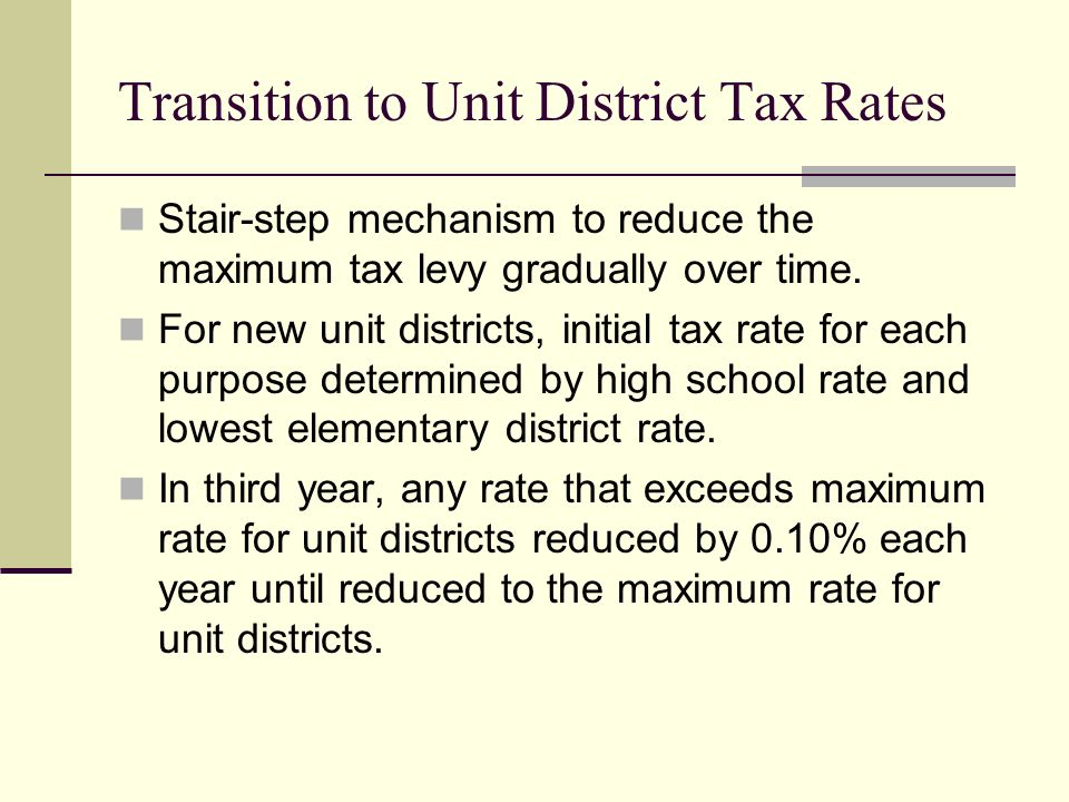 Transition to Unit District Tax Rates Stair-step mechanism to reduce the maximum tax levy gradually over time. For new unit districts, initial tax rat