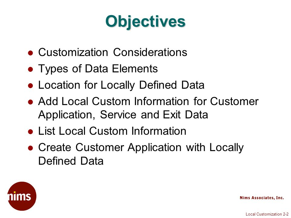 Local Customization 2-43 Data Element Yes/No
