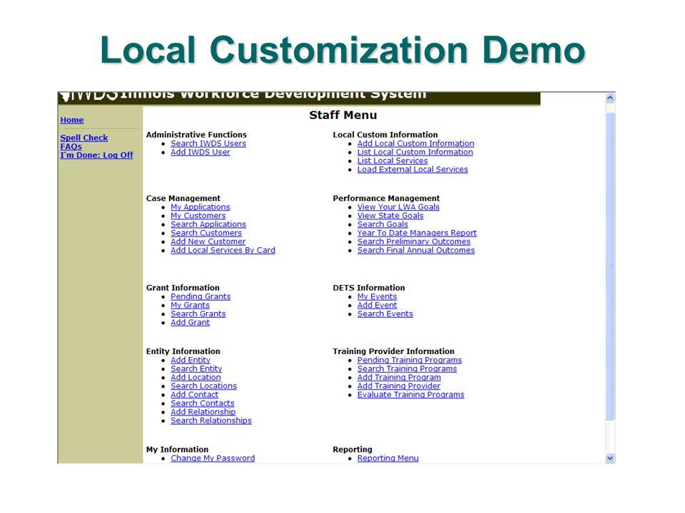 Local Customization Demo