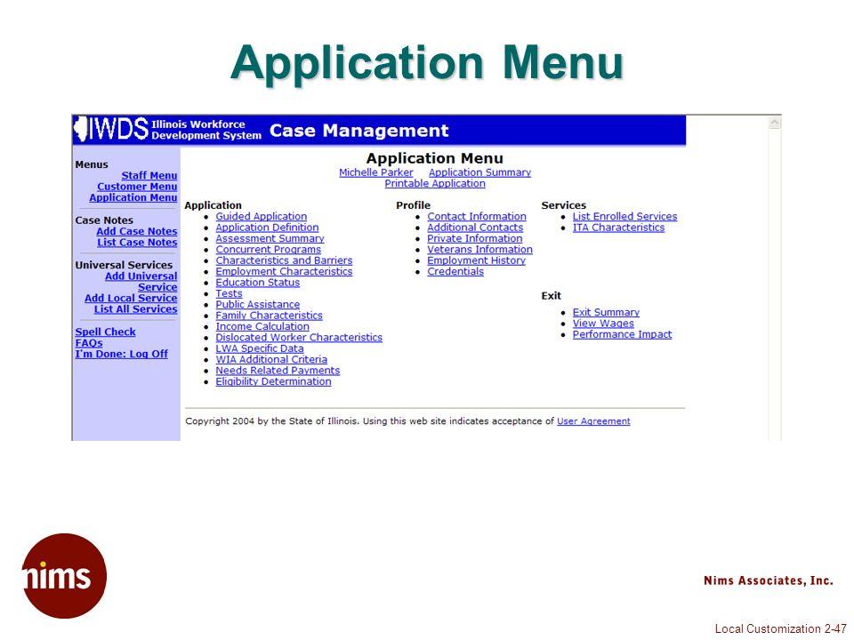 Local Customization 2-47 Application Menu