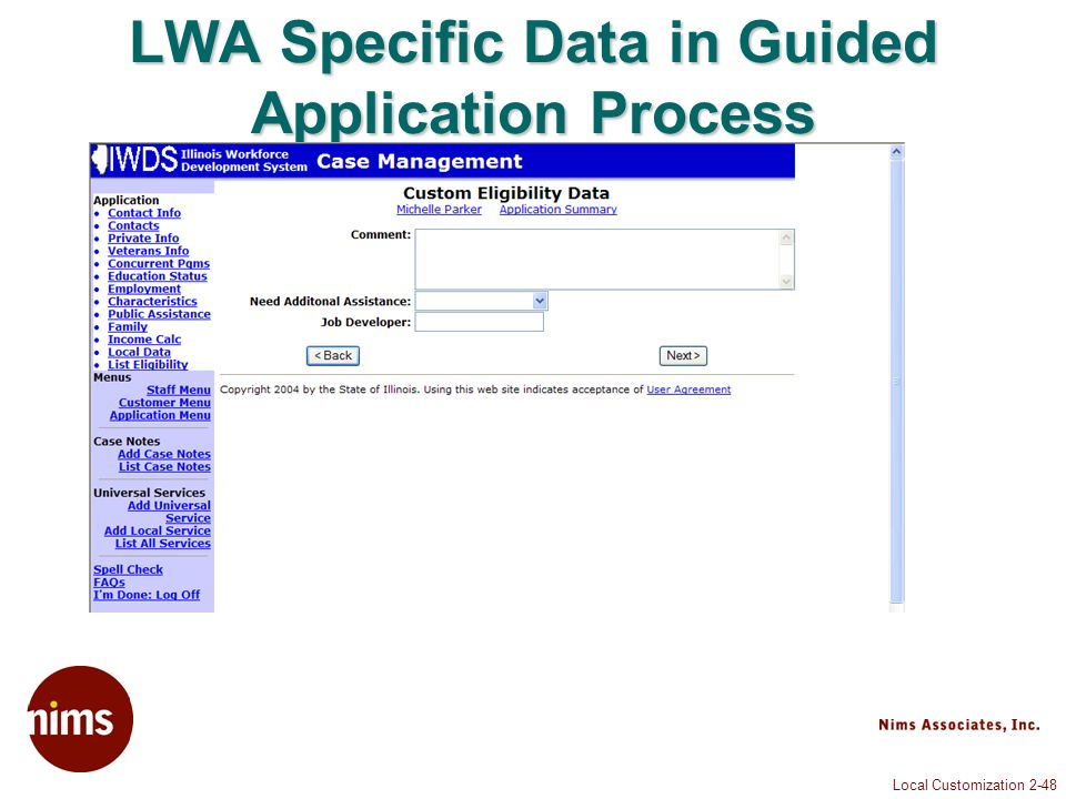 Local Customization 2-48 LWA Specific Data in Guided Application Process