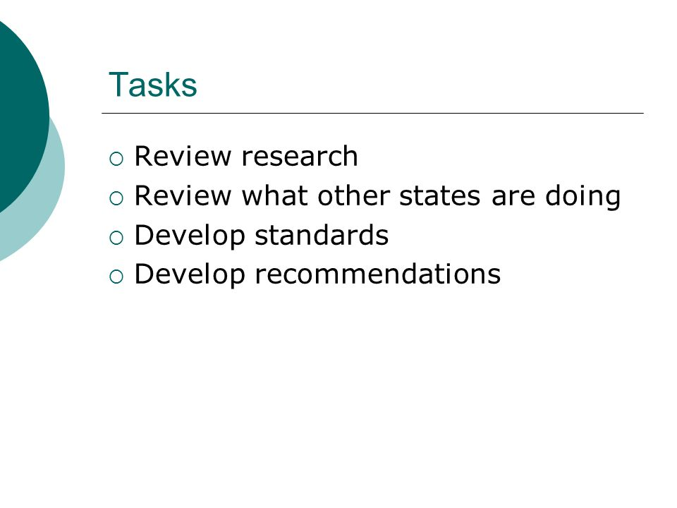 Tasks Review research Review what other states are doing Develop standards Develop recommendations