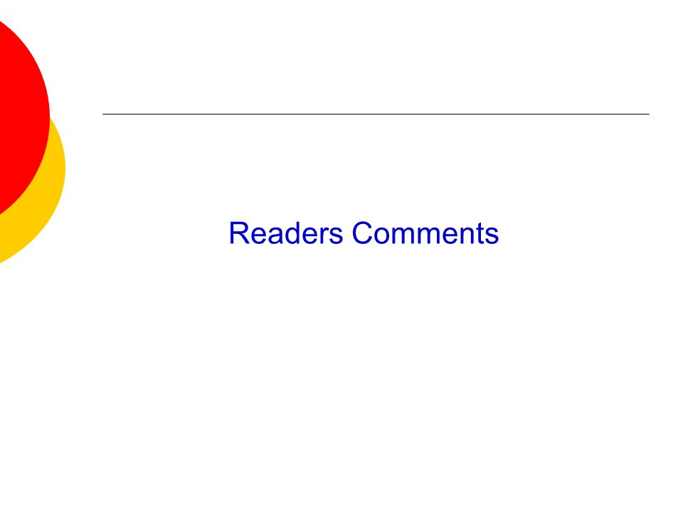 Readers Comments