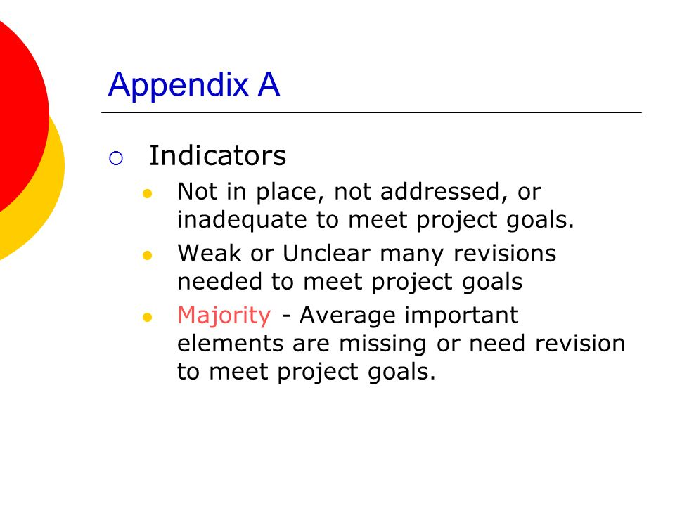 Appendix A Indicators Not in place, not addressed, or inadequate to meet project goals.