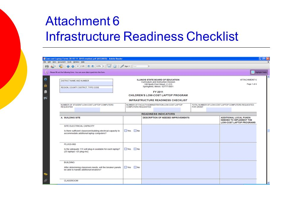 Attachment 6 Infrastructure Readiness Checklist