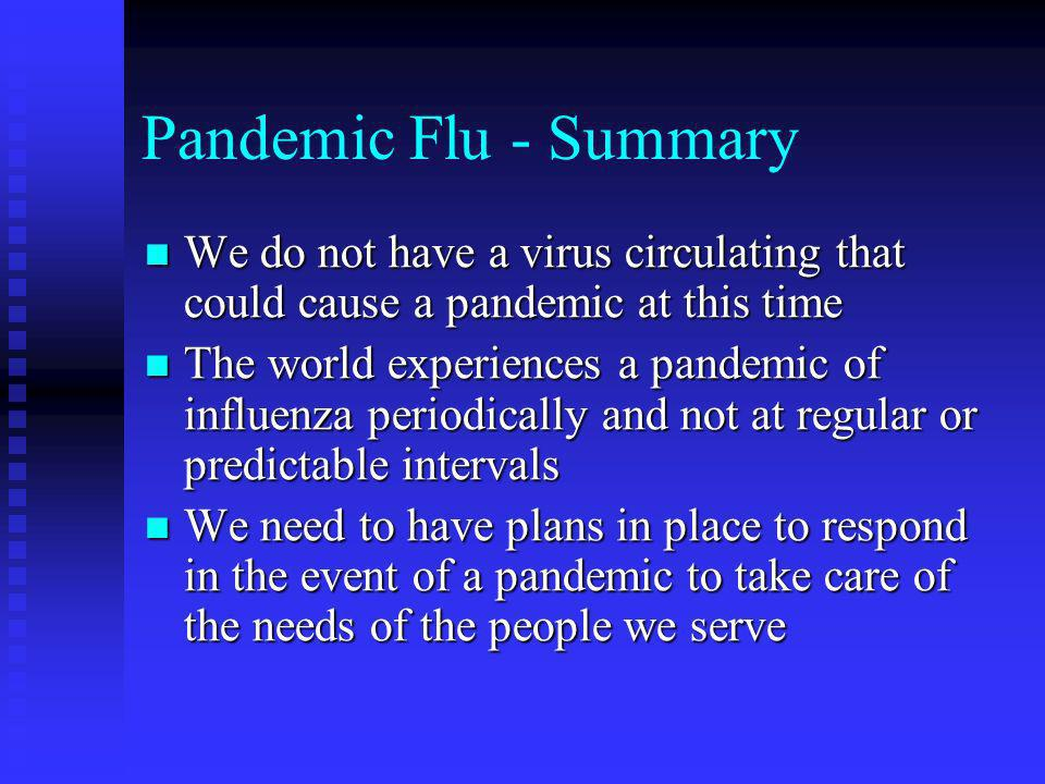 Pandemic Flu - Summary We do not have a virus circulating that could cause a pandemic at this time We do not have a virus circulating that could cause a pandemic at this time The world experiences a pandemic of influenza periodically and not at regular or predictable intervals The world experiences a pandemic of influenza periodically and not at regular or predictable intervals We need to have plans in place to respond in the event of a pandemic to take care of the needs of the people we serve We need to have plans in place to respond in the event of a pandemic to take care of the needs of the people we serve