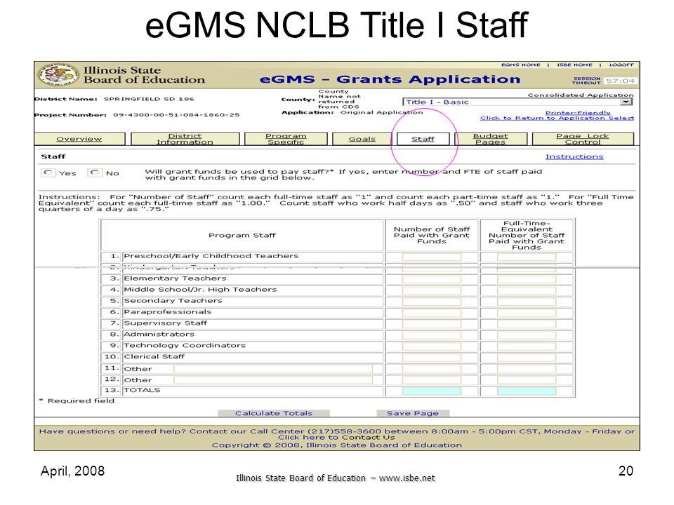 Illinois State Board of Education – www.isbe.net April, 200820 eGMS NCLB Title I Staff