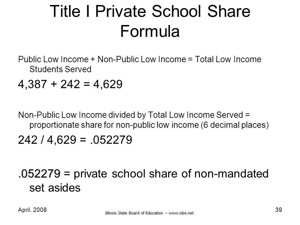 Illinois State Board of Education – www.isbe.net April, 200839 Title I Private School Share Formula Public Low Income + Non-Public Low Income = Total