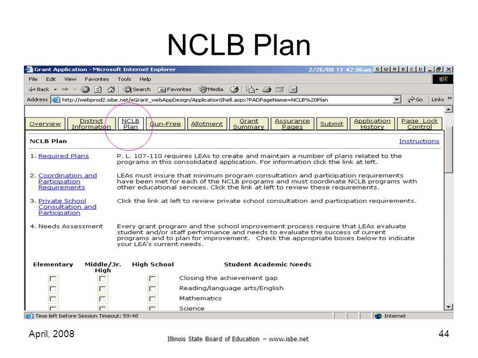 Illinois State Board of Education – www.isbe.net April, 200844 NCLB Plan