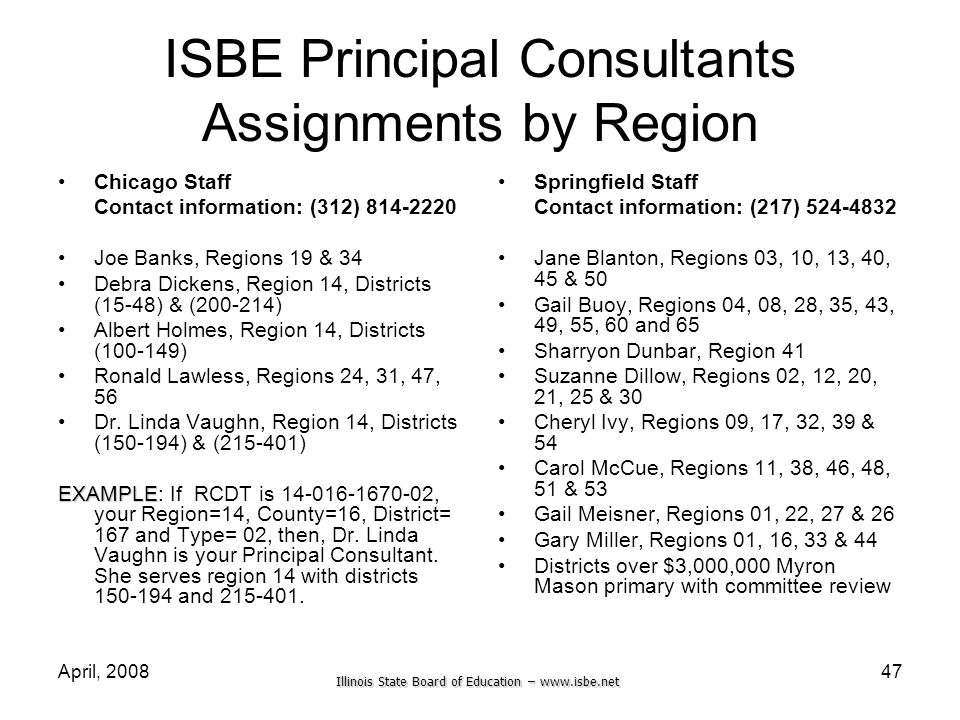 Illinois State Board of Education – www.isbe.net April, 200847 ISBE Principal Consultants Assignments by Region Chicago Staff Contact information: (31