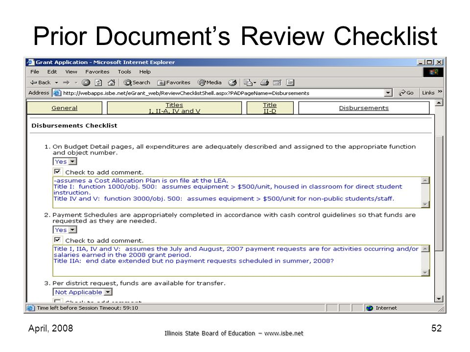 Illinois State Board of Education – www.isbe.net April, 200852 Prior Documents Review Checklist