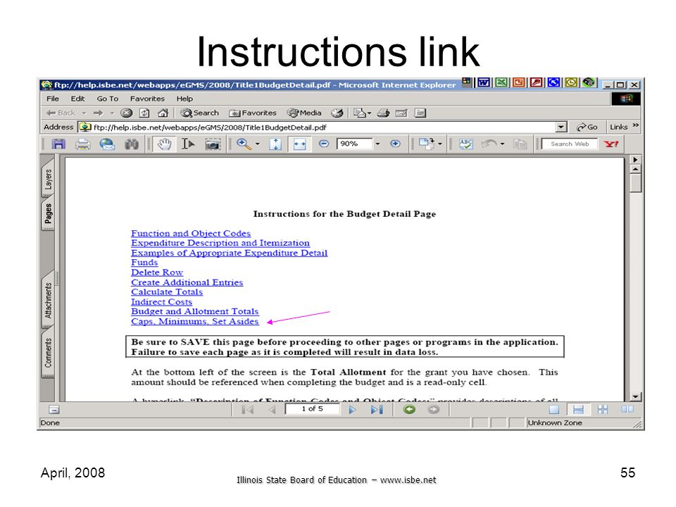 Illinois State Board of Education – www.isbe.net April, 200855 Instructions link