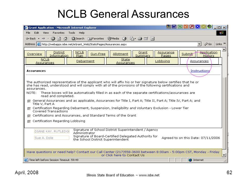 Illinois State Board of Education – www.isbe.net April, 200862 NCLB General Assurances