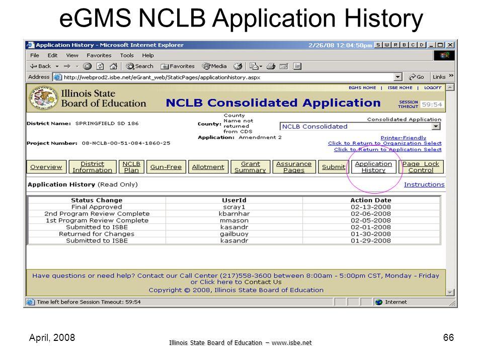 Illinois State Board of Education – www.isbe.net April, 200866 eGMS NCLB Application History