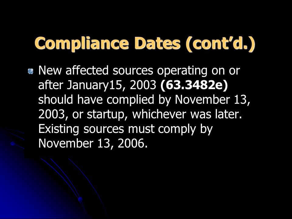 Compliance Dates (contd.) New affected sources operating on or after January15, 2003 (63.3482e) should have complied by November 13, 2003, or startup, whichever was later.