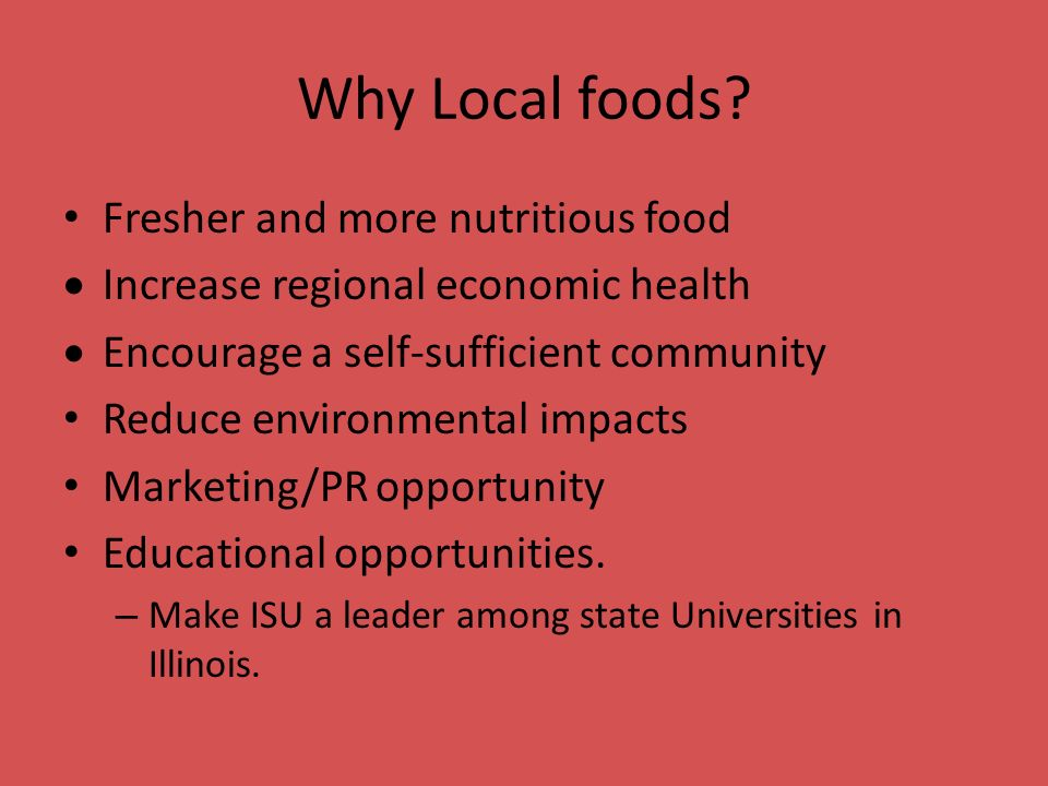 Why Local foods.