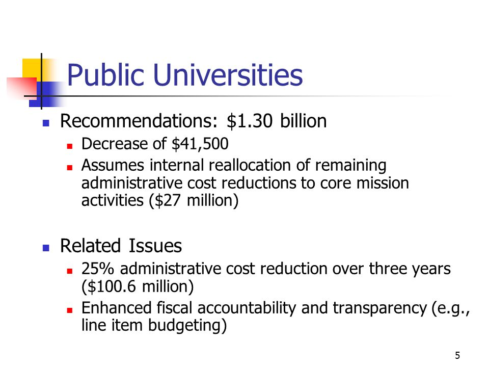 5 Public Universities Recommendations: $1.30 billion Decrease of $41,500 Assumes internal reallocation of remaining administrative cost reductions to