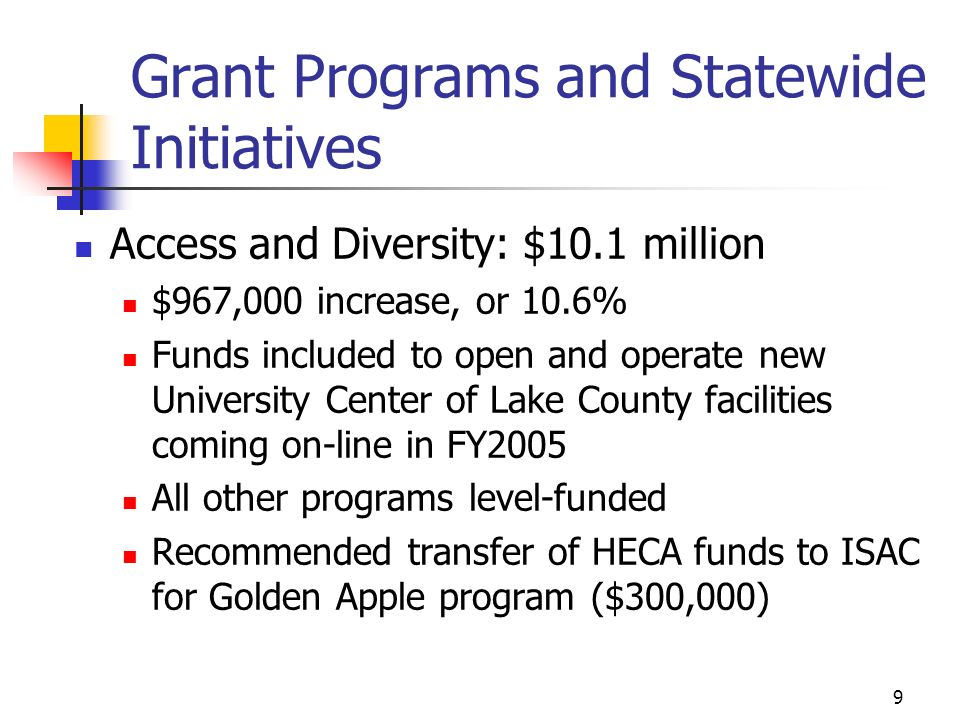 9 Grant Programs and Statewide Initiatives Access and Diversity: $10.1 million $967,000 increase, or 10.6% Funds included to open and operate new Univ