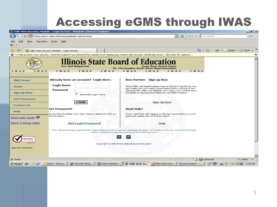 5 Accessing eGMS through IWAS