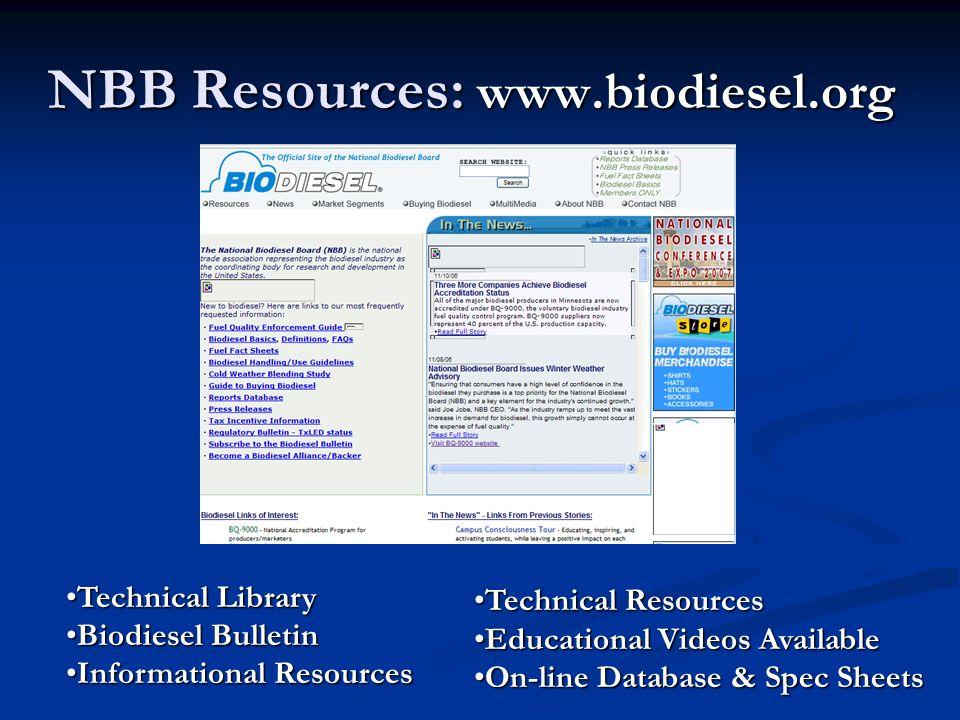 NBB Resources: www.biodiesel.org Technical LibraryTechnical Library Biodiesel BulletinBiodiesel Bulletin Informational ResourcesInformational Resource