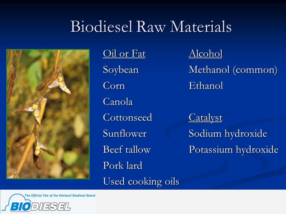 Biodiesel Raw Materials Oil or FatAlcohol SoybeanMethanol (common) CornEthanol Canola CottonseedCatalyst SunflowerSodium hydroxide Beef tallowPotassiu