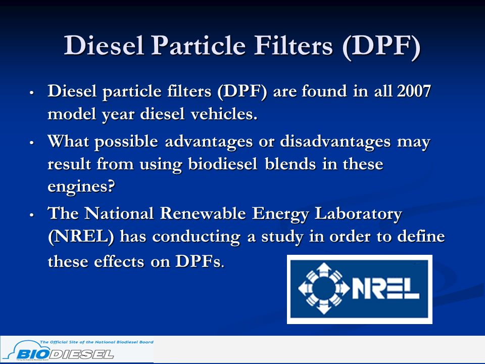 Diesel Particle Filters (DPF) Diesel particle filters (DPF) are found in all 2007 model year diesel vehicles. Diesel particle filters (DPF) are found