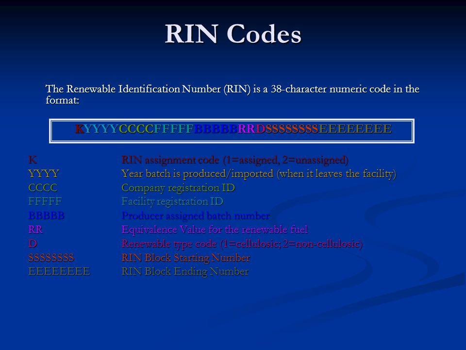 RIN Codes The Renewable Identification Number (RIN) is a 38-character numeric code in the format: KYYYYCCCCFFFFFBBBBBRRDSSSSSSSSEEEEEEEE K RIN assignm