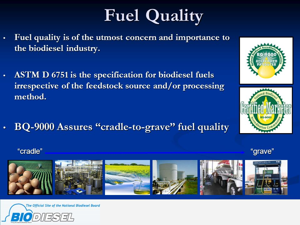 Fuel Quality Fuel quality is of the utmost concern and importance to the biodiesel industry. Fuel quality is of the utmost concern and importance to t
