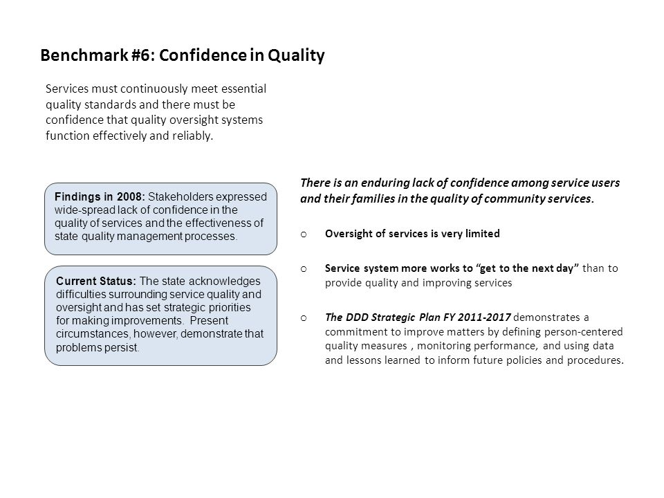 Benchmark #6: Confidence in Quality There is an enduring lack of confidence among service users and their families in the quality of community services.