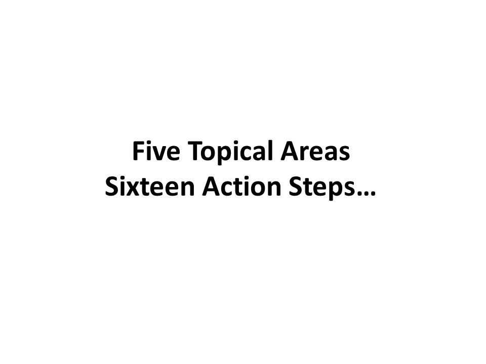 Five Topical Areas Sixteen Action Steps…