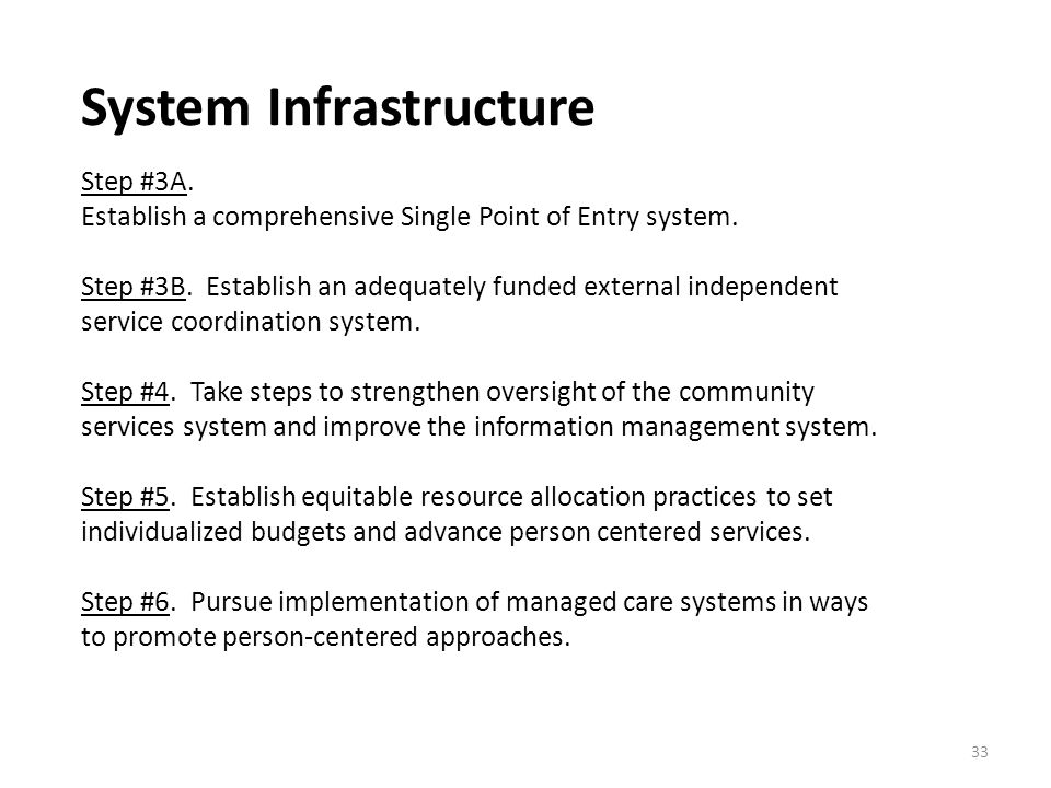 System Infrastructure Step #3A. Establish a comprehensive Single Point of Entry system.