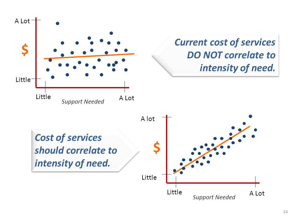 $ Little Support Needed Little A Lot $ Little Support Needed Little A Lot A lot 34 Current cost of services DO NOT correlate to intensity of need.