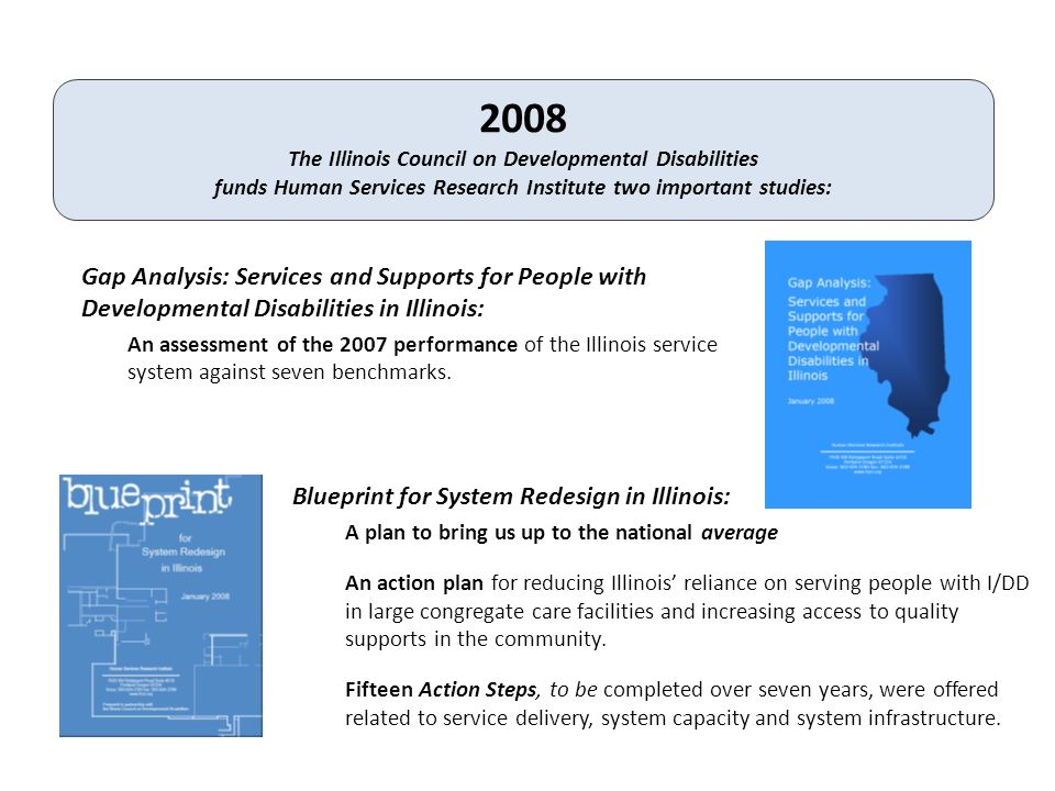 Gap Analysis: Services and Supports for People with Developmental Disabilities in Illinois: An assessment of the 2007 performance of the Illinois service system against seven benchmarks.