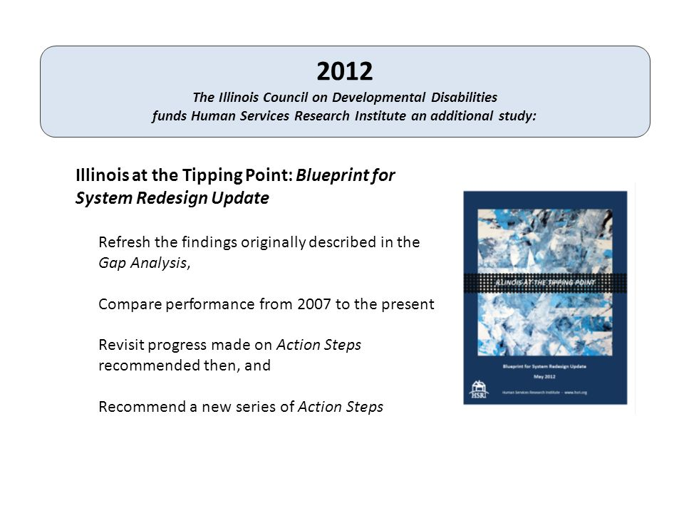2012 The Illinois Council on Developmental Disabilities funds Human Services Research Institute an additional study: Illinois at the Tipping Point: Blueprint for System Redesign Update Refresh the findings originally described in the Gap Analysis, Compare performance from 2007 to the present Revisit progress made on Action Steps recommended then, and Recommend a new series of Action Steps