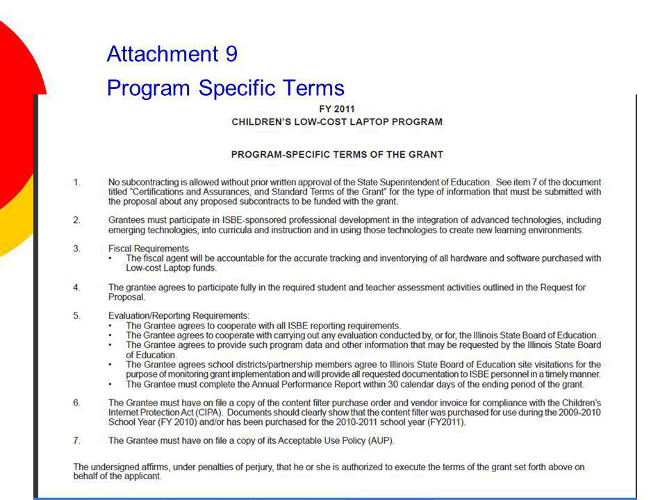 Attachment 9 Program Specific Terms
