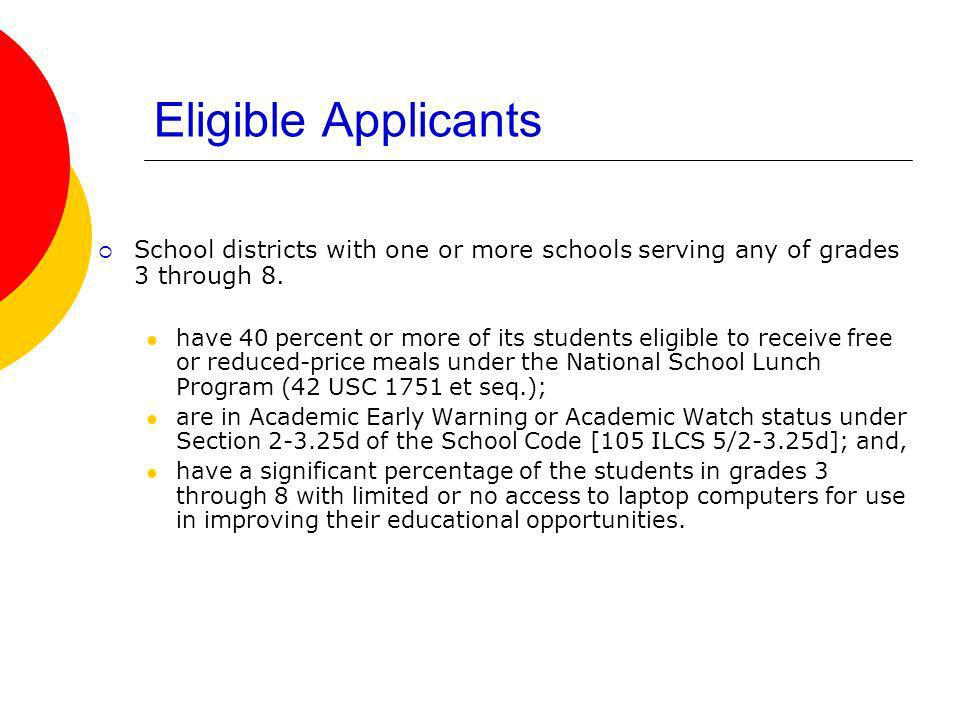 Eligible Applicants School districts with one or more schools serving any of grades 3 through 8.