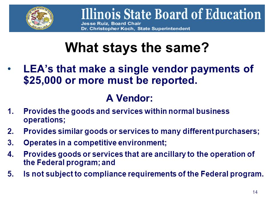 14 What stays the same? LEAs that make a single vendor payments of $25,000 or more must be reported. A Vendor: 1.Provides the goods and services withi