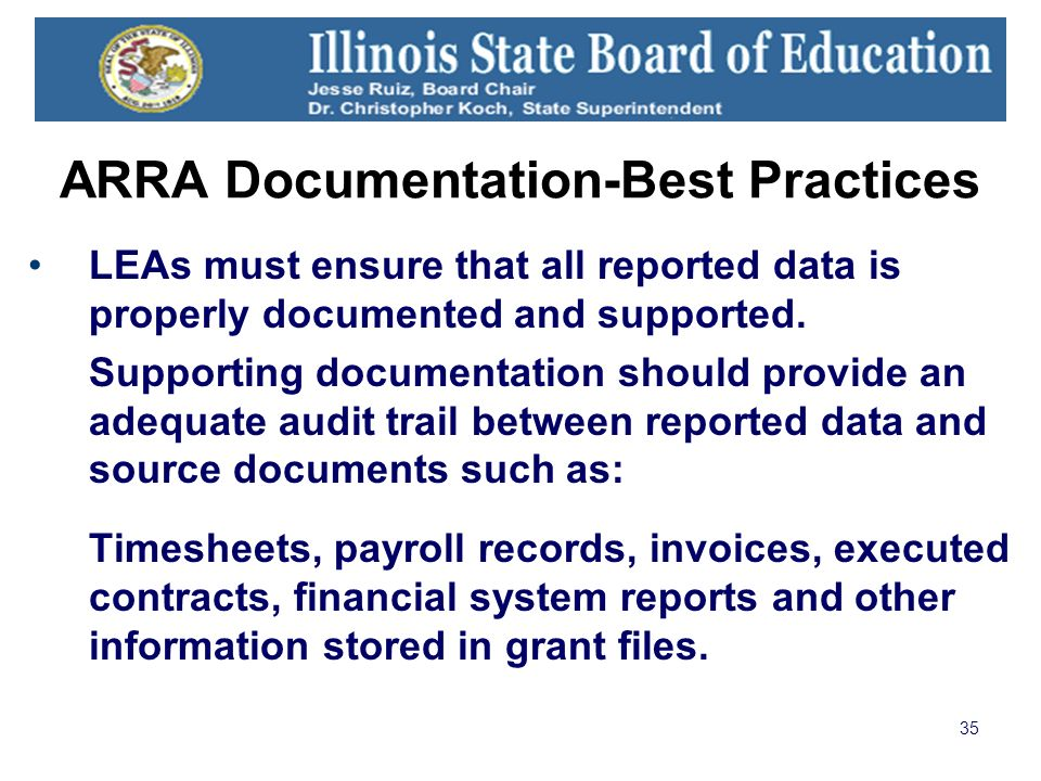 35 ARRA Documentation-Best Practices LEAs must ensure that all reported data is properly documented and supported.