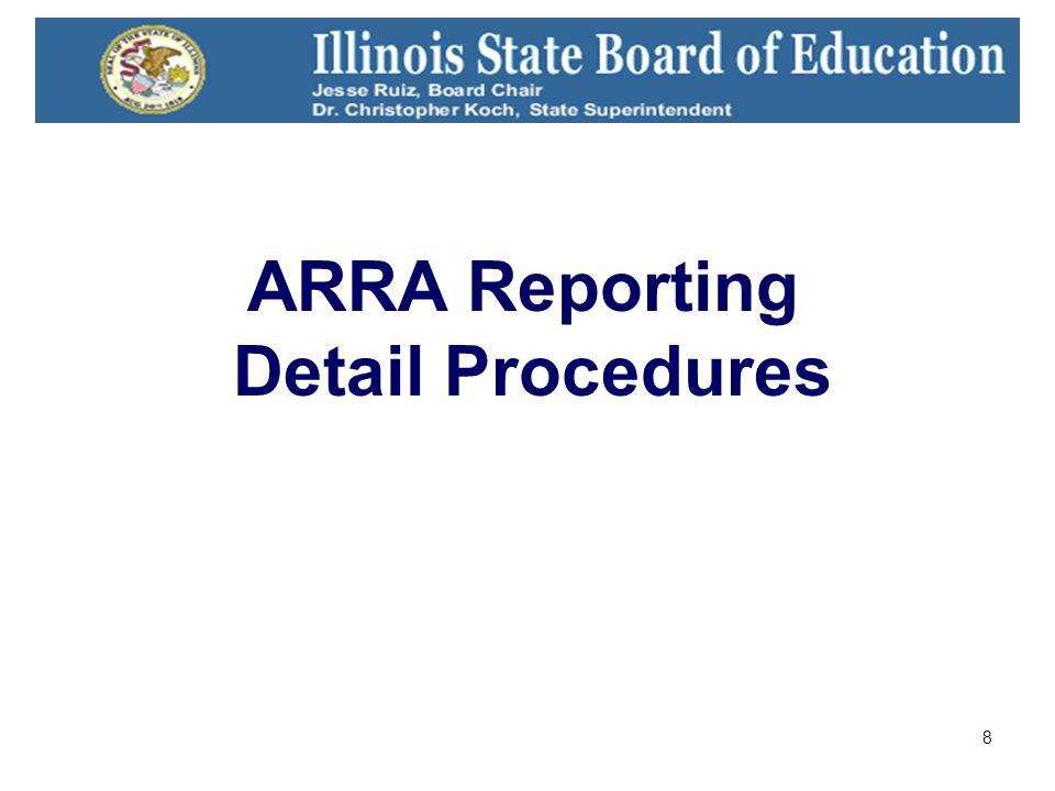 8 ARRA Reporting Detail Procedures