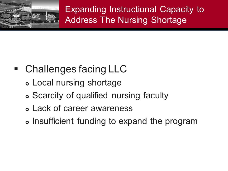 Expanding Instructional Capacity to Address The Nursing Shortage Challenges facing LLC Local nursing shortage Scarcity of qualified nursing faculty Lack of career awareness Insufficient funding to expand the program