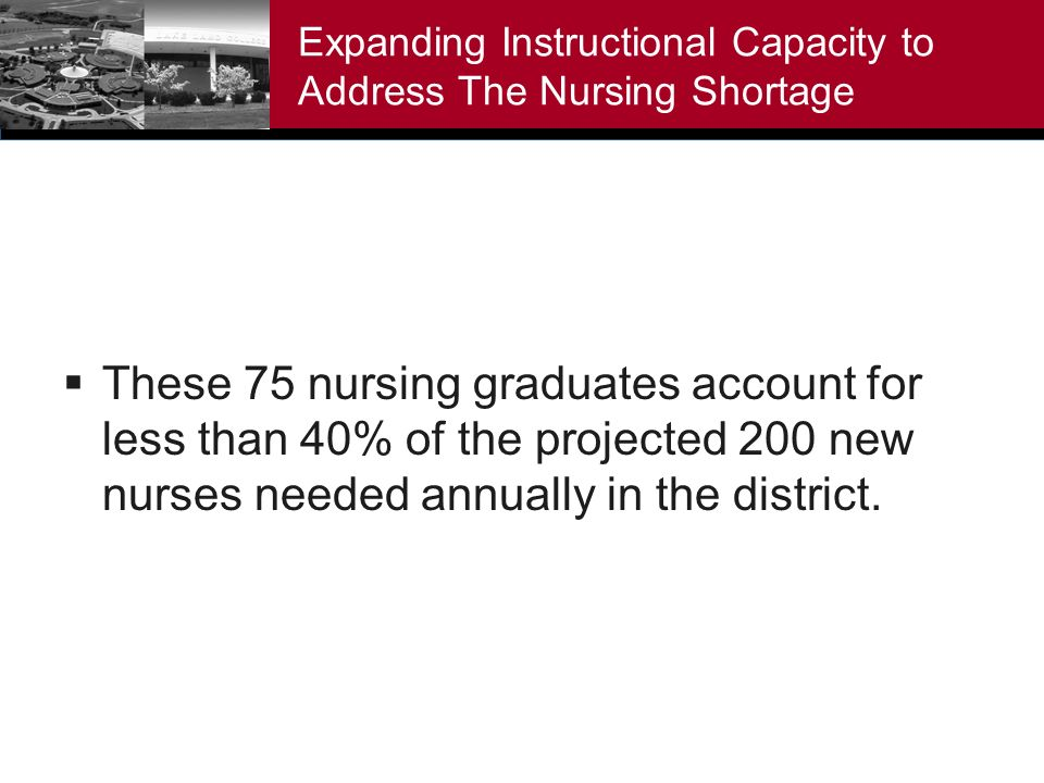 Expanding Instructional Capacity to Address The Nursing Shortage These 75 nursing graduates account for less than 40% of the projected 200 new nurses needed annually in the district.