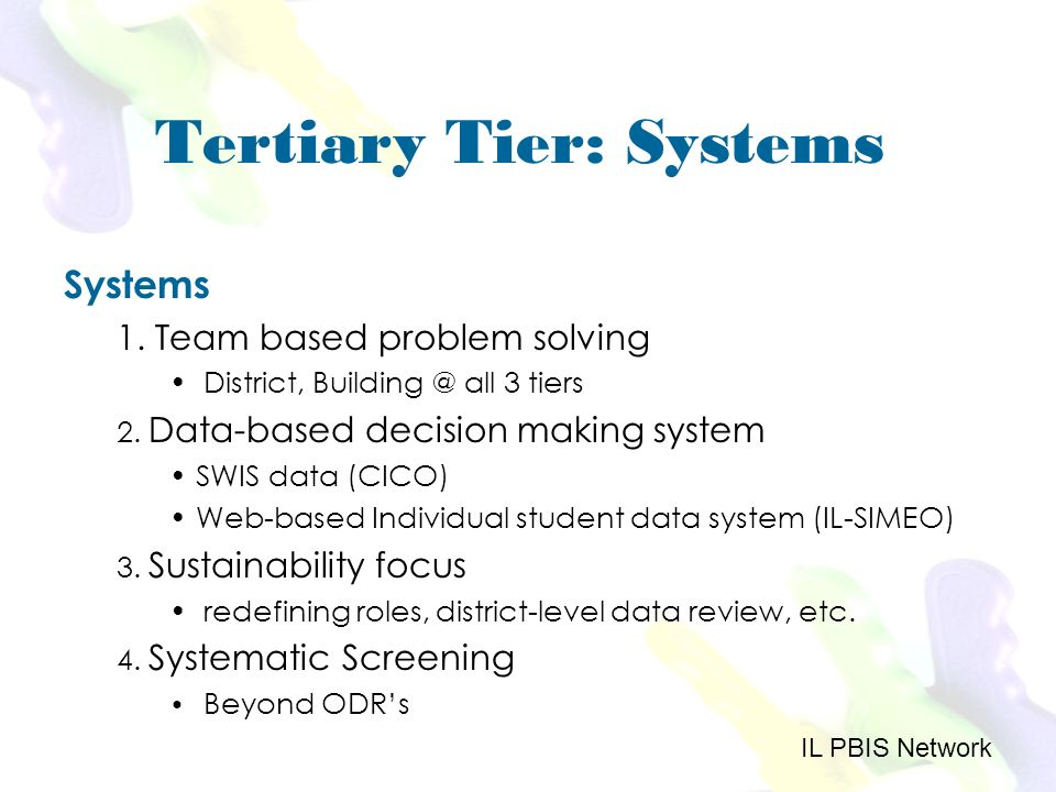 Tertiary Tier: Systems Systems 1. Team based problem solving District, Building @ all 3 tiers 2.
