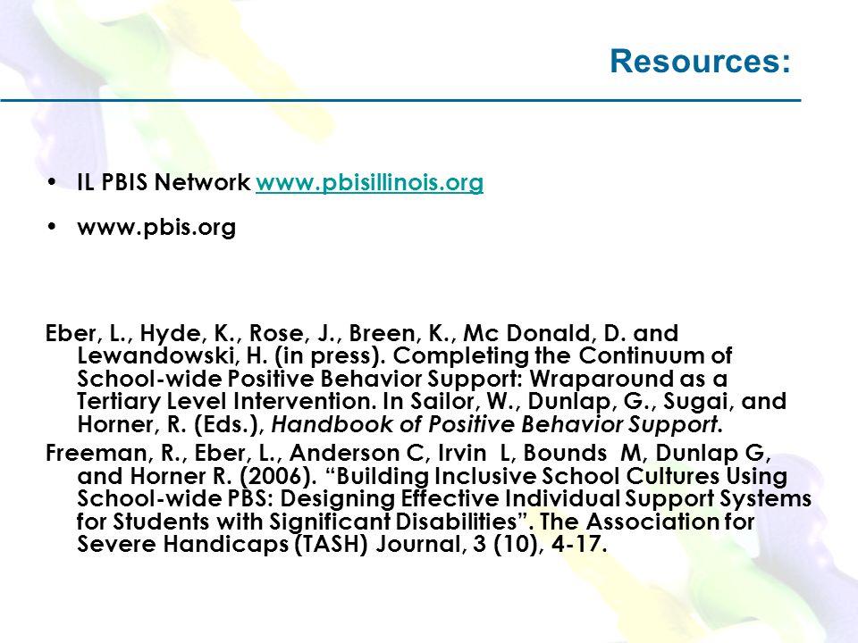 Resources: IL PBIS Network www.pbisillinois.orgwww.pbisillinois.org www.pbis.org Eber, L., Hyde, K., Rose, J., Breen, K., Mc Donald, D. and Lewandowsk