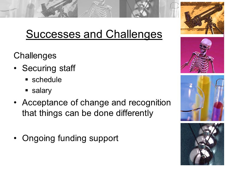 Successes and Challenges Challenges Securing staff schedule salary Acceptance of change and recognition that things can be done differently Ongoing funding support