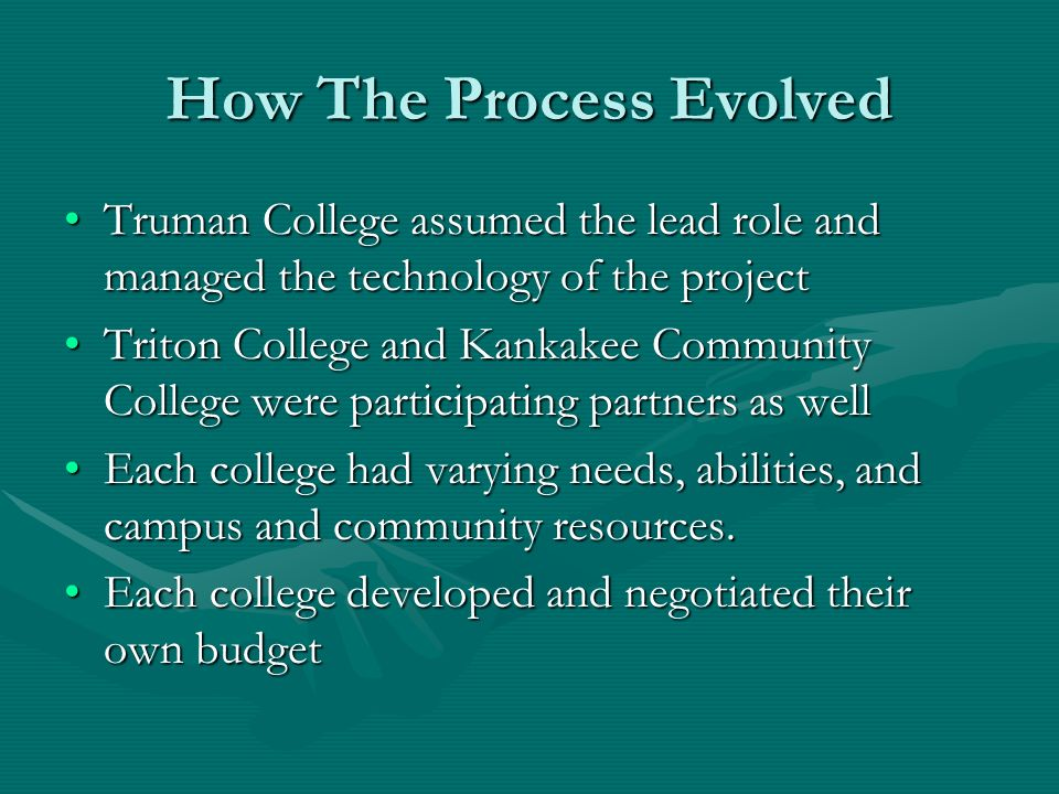 How The Process Evolved Truman College assumed the lead role and managed the technology of the projectTruman College assumed the lead role and managed the technology of the project Triton College and Kankakee Community College were participating partners as wellTriton College and Kankakee Community College were participating partners as well Each college had varying needs, abilities, and campus and community resources.Each college had varying needs, abilities, and campus and community resources.