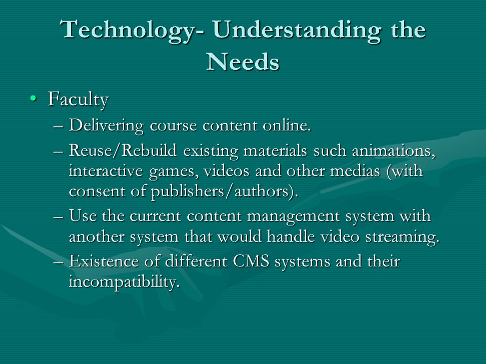 Technology- Understanding the Needs FacultyFaculty –Delivering course content online.